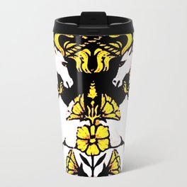 TWO UNICORNS & FLOWERS IN BLACK-GOLD ART Travel Mug