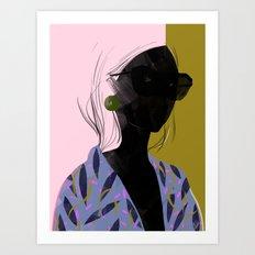 Girl in a blue Kimono Art Print