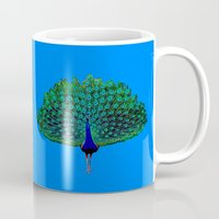 peacock Mugs featuring Peacock by Whimsical Notions Design
