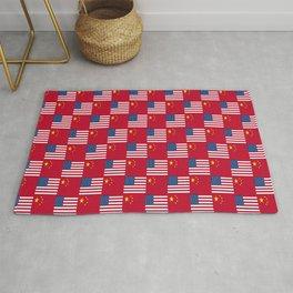Mix of flag: usa and China Rug