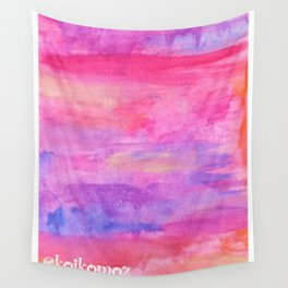 Watercolor Sunset Reflecting on the Lake Wall Tapestry