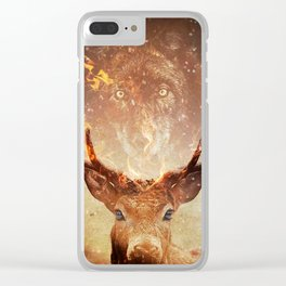 Wolf in the Flames Clear iPhone Case