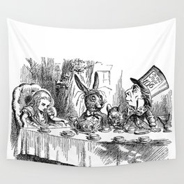Vintage Alice in Wonderland Mad Hatter & rabbit tea party antique goth emo book gothic drawing print Wall Tapestry