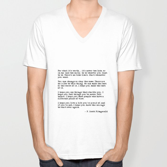 For what it's worth - F Scott Fitzgerald quote Unisex V-Ausschnitt