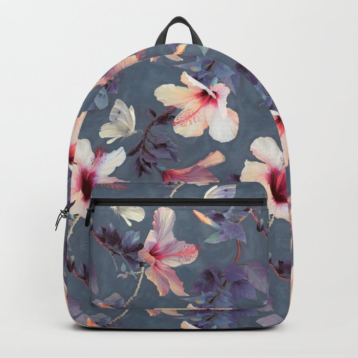 Butterflies And Hibiscus Flowers A Painted Pattern Backpack By