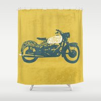 grease Shower Curtains featuring streets by The Junkers