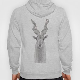 Hand drawn pointillism illustration of a Markhor and birds Hoody