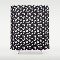 skulls Shower Curtains featuring Skulls by Sara Showalter