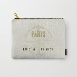 Paris - Vintage Map and Location Carry-All Pouch