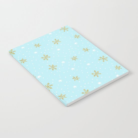 Merry christmas- abstract winter pattern with white & gold Snowflakes Notebook