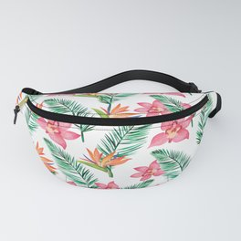 Pink watercolor orchid orange bird of paradise floral Fanny Pack