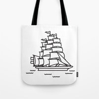 ships Tote Bags featuring Ships Ahoy! by CaptainChrisP
