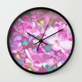 Paisley pink hearts Wall Clock
