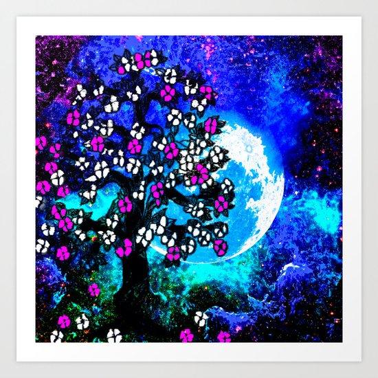 A TREE A MOON AND STARS AT NIGHT Art Print