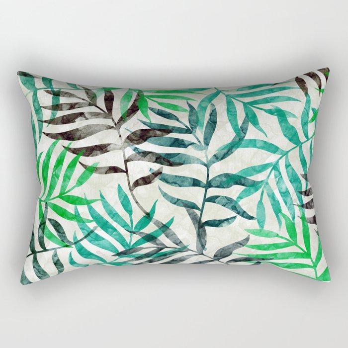Watercolor Tropical Palm Leaves II Rectangular Pillow