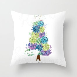 Funny Succulent Christmas Tree Have a Succy Christmas Quote Throw Pillow