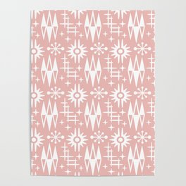 Mid Century Modern Atomic Space Age Pattern Dusty Rose Poster