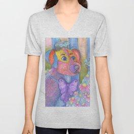 A dog and daises Unisex V-Neck