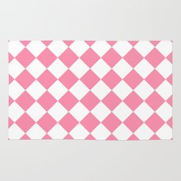 Diamonds - White and Flamingo Pink Rug