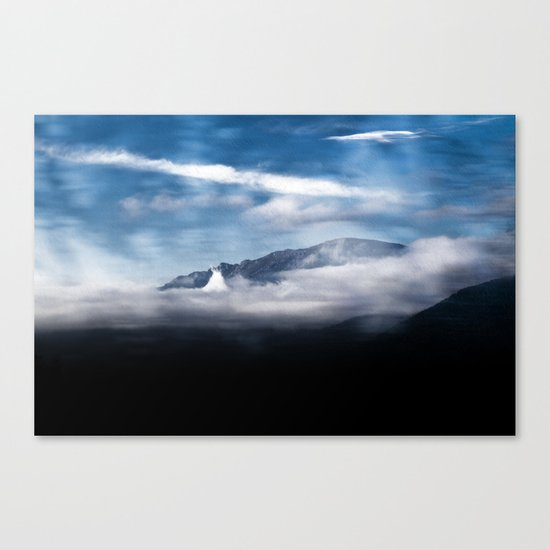 Mountains and fog. Landscape Canvas Print