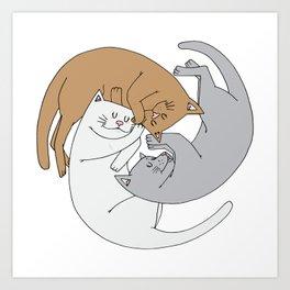Spiral cats Art Print
