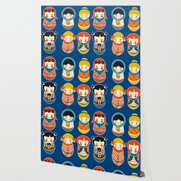 Babushka dolls vibrant pattern Wallpaper
