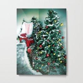 Christmas Tree And Santa Chair Metal Print