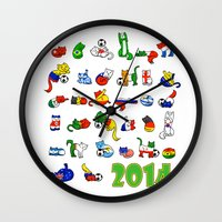 world cup Wall Clocks featuring WORLD CUP KITTEHS 2014 by Helenasia
