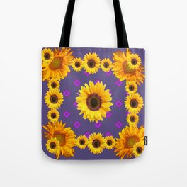 Ornamental  Puce Purple Golden Sunflowers Pattern Tote Bag