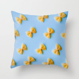 Bowtie Pasta Noodles (Color) Throw Pillow
