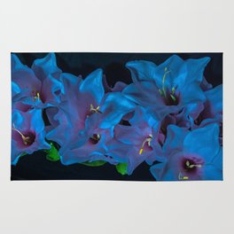 Electric Blue Flowers Rug