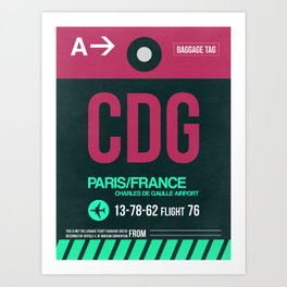 CDG Paris Luggage Tag 1 Art Print