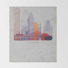 Vertical Louisville skyline design Throw Blanket