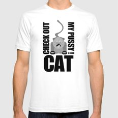 Check Out My Pussy ! CAT White SMALL Mens Fitted Tee