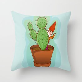 fairytale dwarf with cactus Throw Pillow