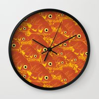goldfish Wall Clocks featuring Goldfish by Monty