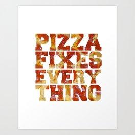 Pizza Fixes Everything -   Black Case  Art Print