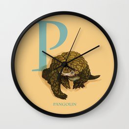 P is for Pangolin: Under Appreciated Animals™ ABC nursery decor orange unusual animals Wall Clock