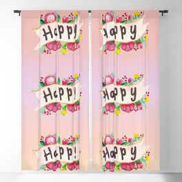 Watercolor Happy Flowers Banner Blackout Curtain