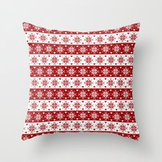 Red Fair Isle Christmas Sweater Snowflakes Pattern Throw Pillow