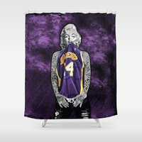 lakers Shower Curtains featuring Marilyn Monroe Los angeles Lakers with tattoos by Three Second