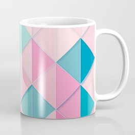 Teal and Peach Tiles and Triangles Pattern Coffee Mug