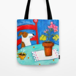 Jack Russel Terrier at table with geraniums Tote Bag