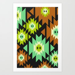 Ethnic shapes in green and brown Art Print