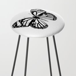 Monarch Butterfly | Vintage Butterfly | Black and White | Counter Stool