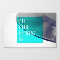records Canvas Prints featuring Records - Blue by Galaxy Eyes