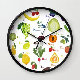 English fruit and vegetables alphabet Wall Clock