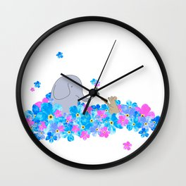 Friends In The Forget-me-nots Wall Clock