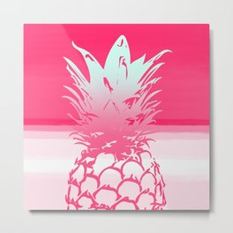 Pink Pineapple Tropical Beach Design Metal Print