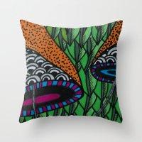 lv Throw Pillows featuring Cogumelo LV by Carolina Delleteze